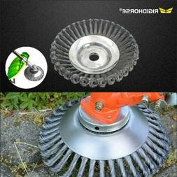 "8"" Steel Wire Wheel Brush Grass Trimmer Head Weed Cleaning T"