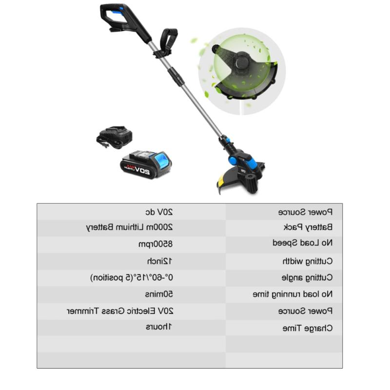 20V Electric 2000mAh Trimmer Auto Release