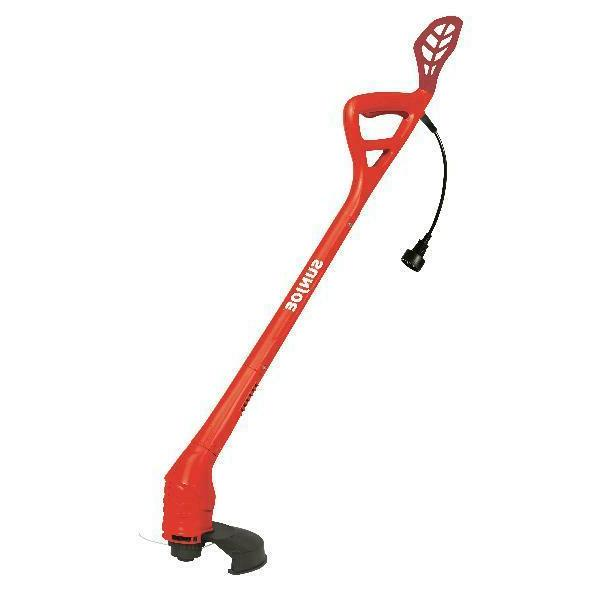 lightweight red electric string trimmer pathway smooth