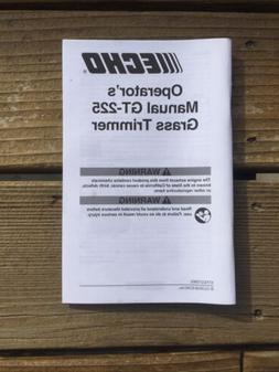 NEW Echo GT-225 Grass Trimmer Operator's Manual From Novem